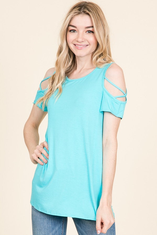 CRISS-CROSS COLD SHOULDER TOP