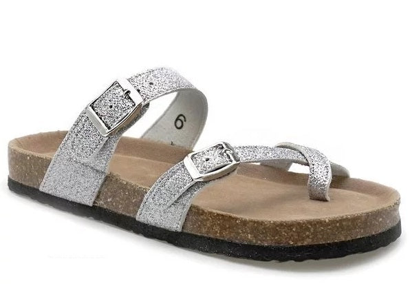 GLITTER BUCKLE OPEN TOE SANDALS