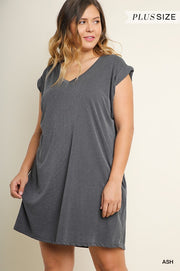 SOLID V-NECK CASUAL DRESS