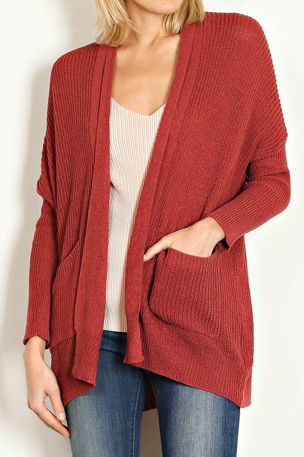 POCKET TRIM LOW GAUGE SWEATER CARDIGAN