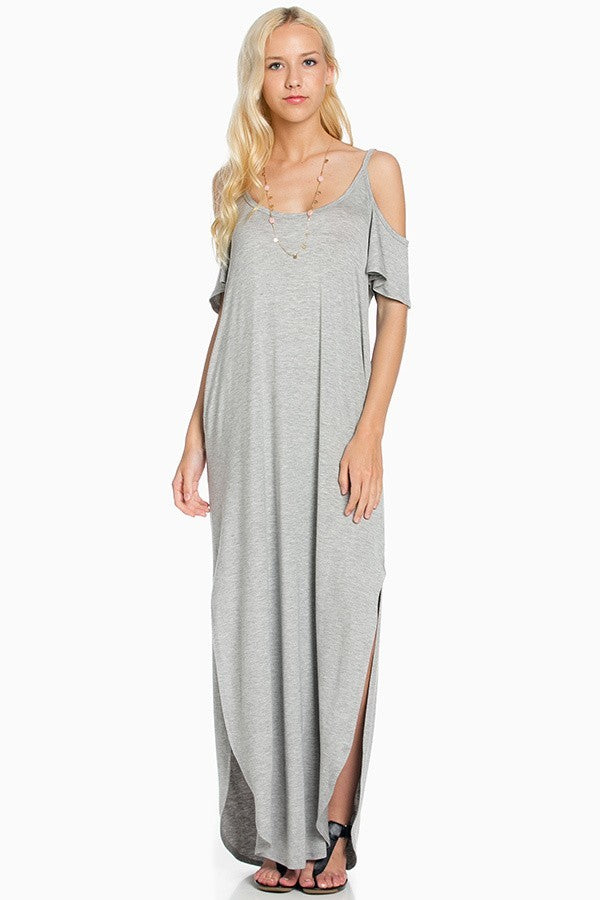 SOLID COLD SHOULDER MAXI DRESS