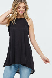 SOLID KEYHOLE RACER BACK TOP WITH RUFFLE DETAIL