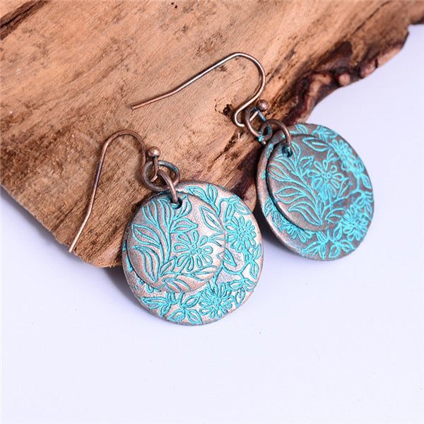Vintage Antique Gold Color Round Earring Charm Pendant Bohemian Punk Style Copper Drop Earrings Creative Girls Jewelry