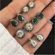 RAVINOUR Brincos Femme 4Pairs Bohemian Stud Earring Set Boho Green Black Crystal Droplet Earrings for Women Jewelry Indian 2018
