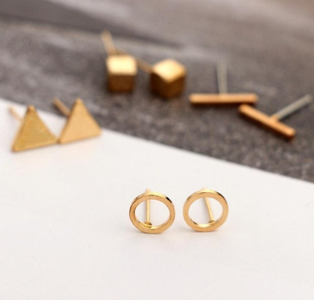 Jisensp Trendy 4pair/Set Geometric Triangle Round Square T Bar Stud Earring for Women Fashion Fine Jewelry Earing Brincos Bijoux