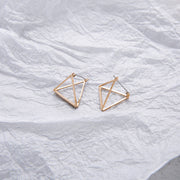 Europe and America Minimalist Punk Earrings Set for Women Geometric 3D Triangle Hollow Polygon Earrings Brincos Party Jewelry JH