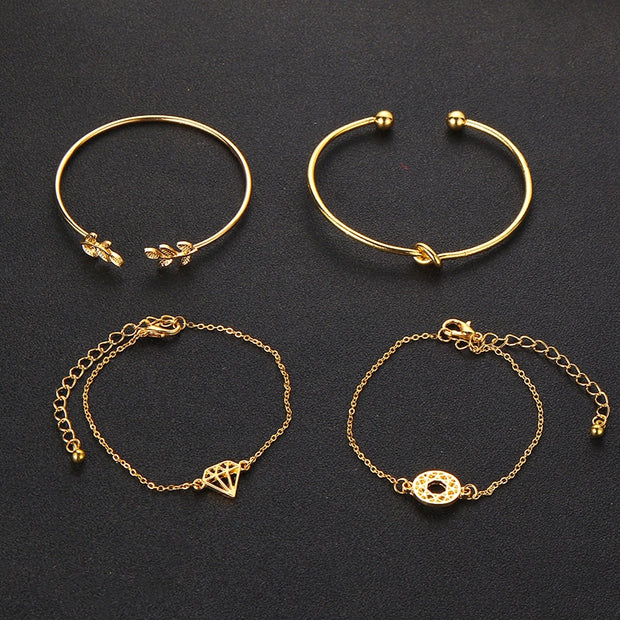 Tocona 4pcs/Set Fashion Bohemia Leaf Knot Hand Cuff Link Chain Charm Bracelet Bangle for Women Gold Bracelets Femme Jewelry 6115