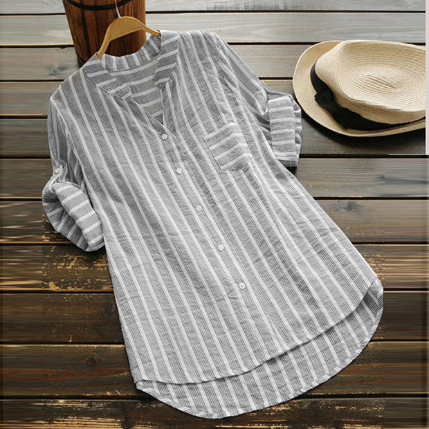 Tops For Womens Tops and Blouses 2018 Elegant Striped Long Sleeve Long Shirts Tunic Ladies Top Clothes Womens Clothing