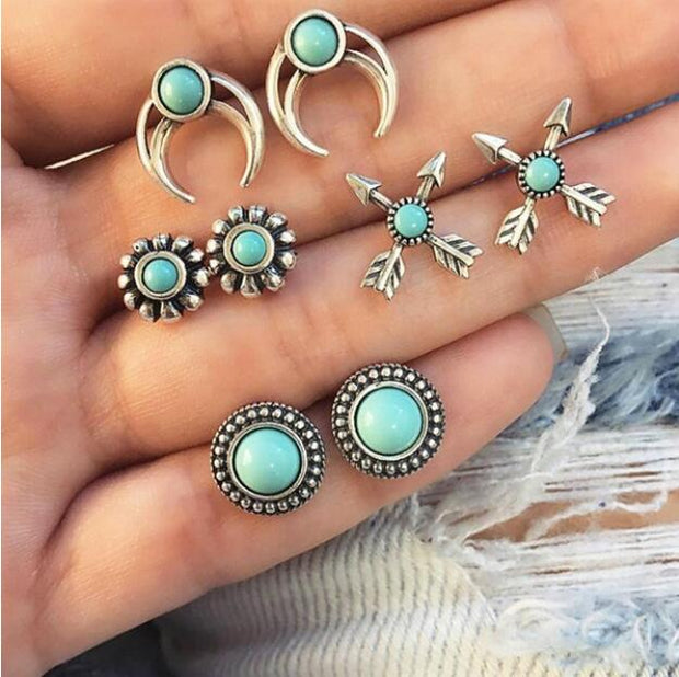 Vintage Geometric Stud Earrings Set For Women Girls 2018 Fashion Bead Stone Flower Small Earrings Boucle d'oreille Femme Gifts