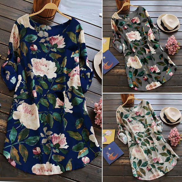 Plus Size 5XL Autumn Winter Boho Dress Women 2018 Linen Retro Floral Print Long Sleeve Casual Dress Vintage Loose Beach Dresses