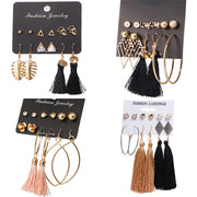 Long Tassel Stud Earring Set
