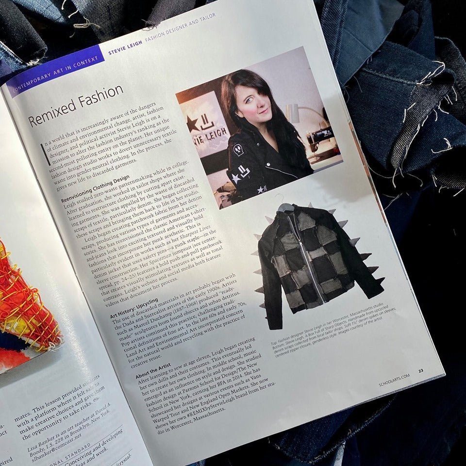 We've been published! Sustainable fashion designer Stevie Leigh is in SchoolArts Mag!