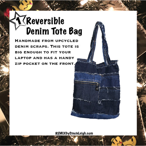 remix by stevie leigh reversible denim tote bag