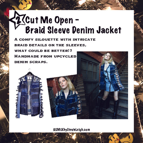 cut me open braid denim jacket