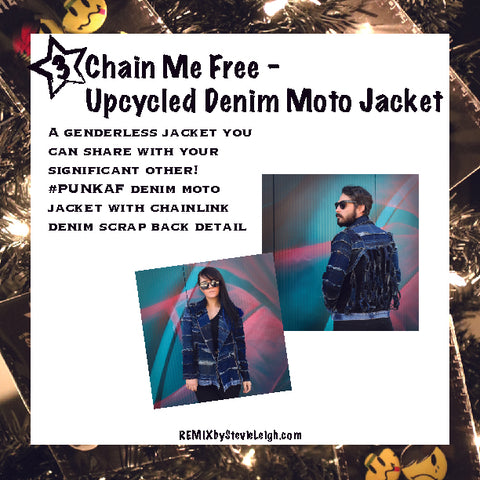 chain me free upcycled denim jacket