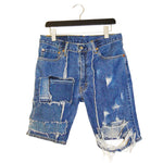 upcycled, reversible, sustainable denim shorts