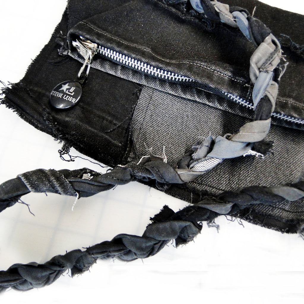 black denim crossbody bag
