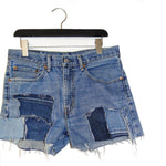 #REMIXbyStevieLeigh reversible upcycled denim patchwork shorts