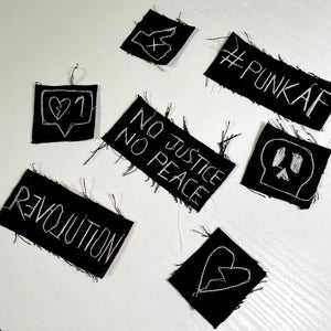 Black and white upcycled denim punk iron-on patches