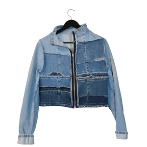 #REMIXbyStevieLeigh eco friendly light blue denim jacket with fringe