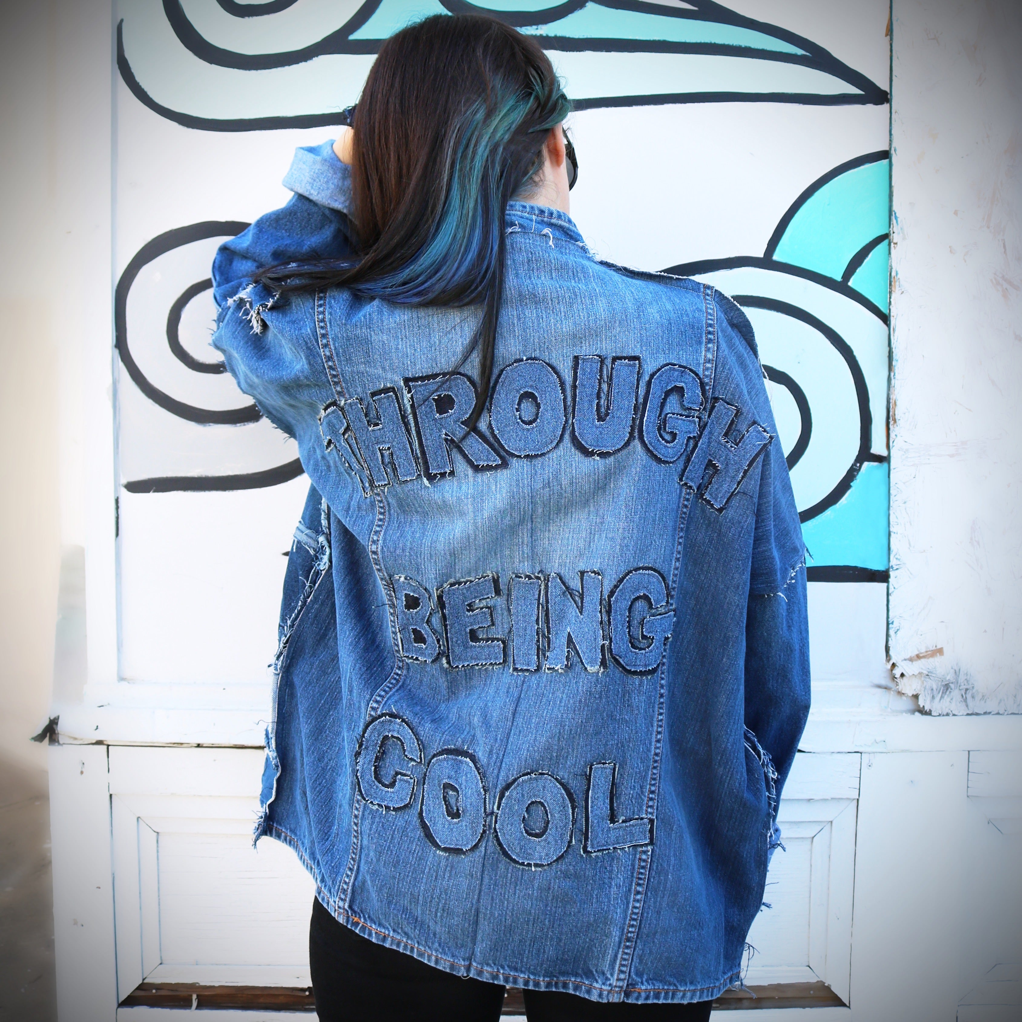 #REMIXbyStevieLeigh through being cool upcycled denim jacket