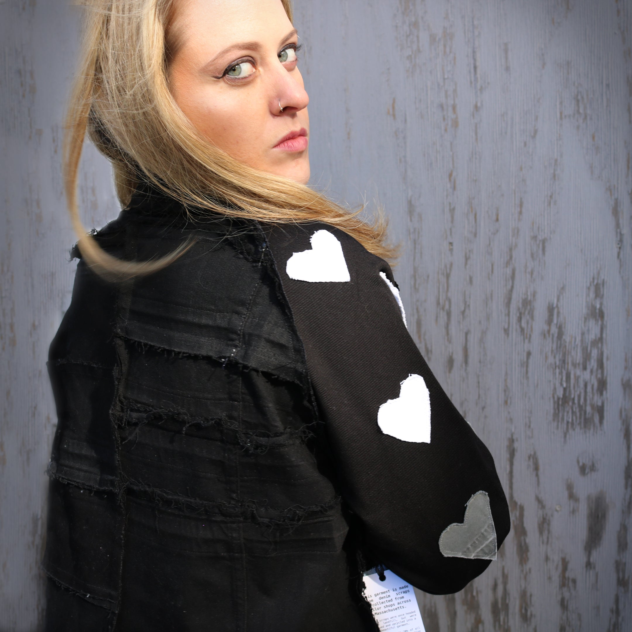 #REMIXbyStevieLeigh  heart genderless upcycled denim jacket
