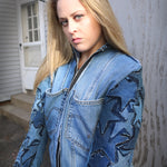 #REMIXbyStevieLeigh star patch upcycled denim jacket