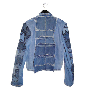 upcycled denim jacket with star patch sleeves