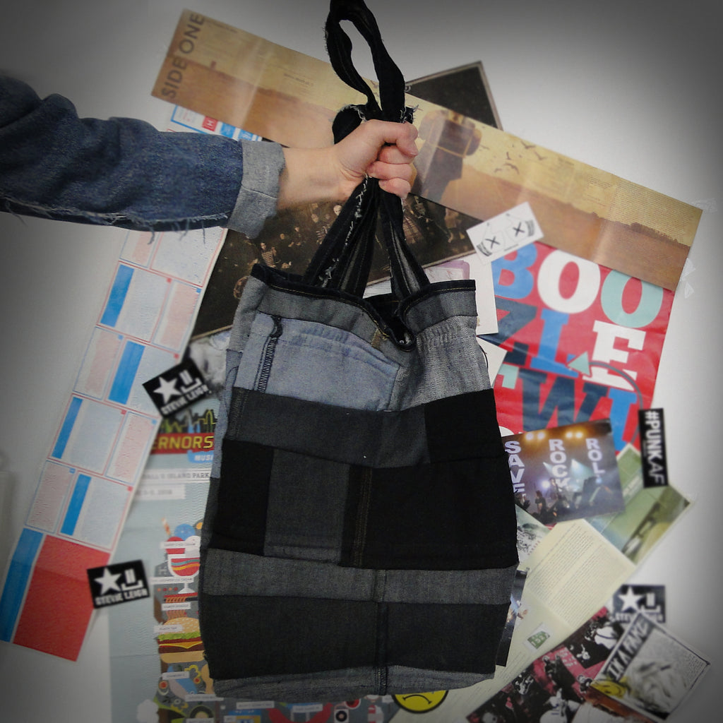 reversible upcycled denim tote bag