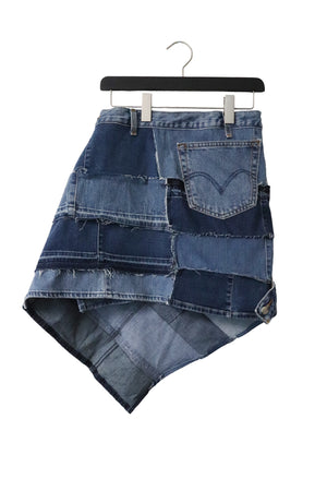 Sustainable upcycled denim fashion genderless skirt