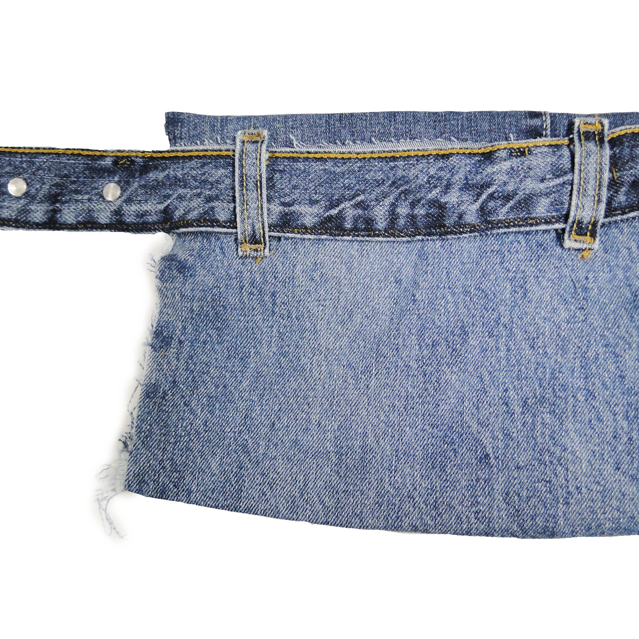 upcycled, reversible, sustainable denim fanny pack