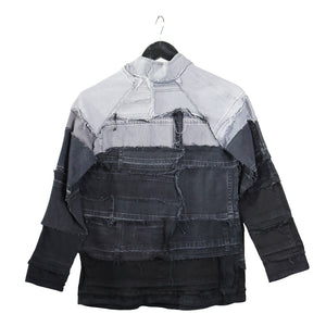 upcycled black denim jacket by remix by stevie leigh