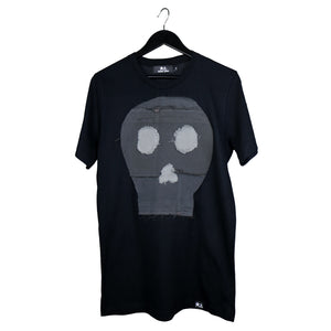 remix by stevie leigh upcycled denim skull t-shirt