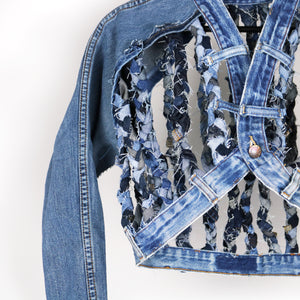 #REMIXbyStevieLeigh genderless upcycled denim jacket with braids
