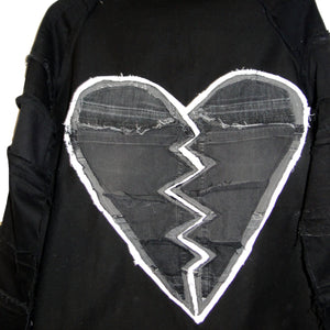 #REMIXbyStevieLeigh broken heart back patch upcycled denim jacket
