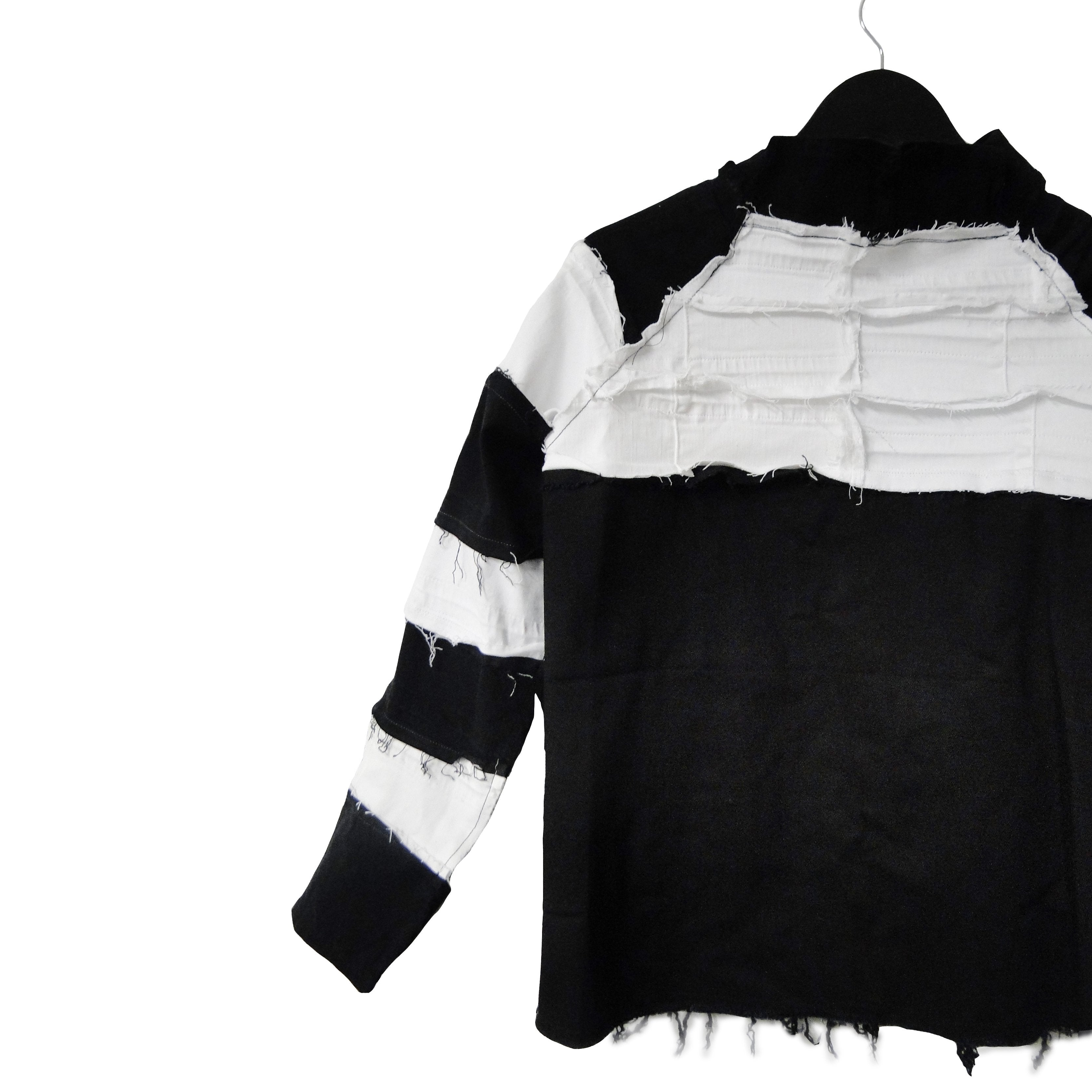 #REMIXbyStevieLeigh black and white striped upcycled denim jacket