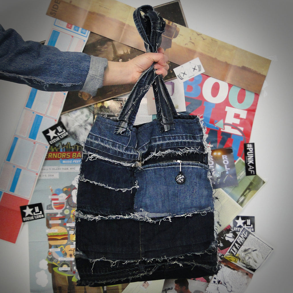 reversible denim tote bag