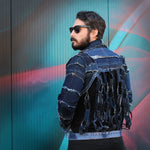 Upcycled denim jacket with chanlink back