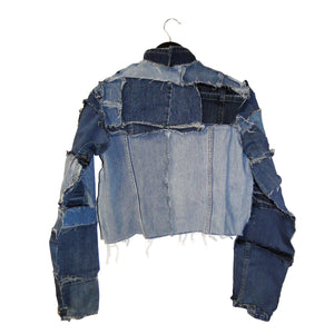 upcycled, reversible, sustainable denim jacket