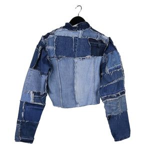 zero waste upcycled denim jacket by remix by stevie leigh