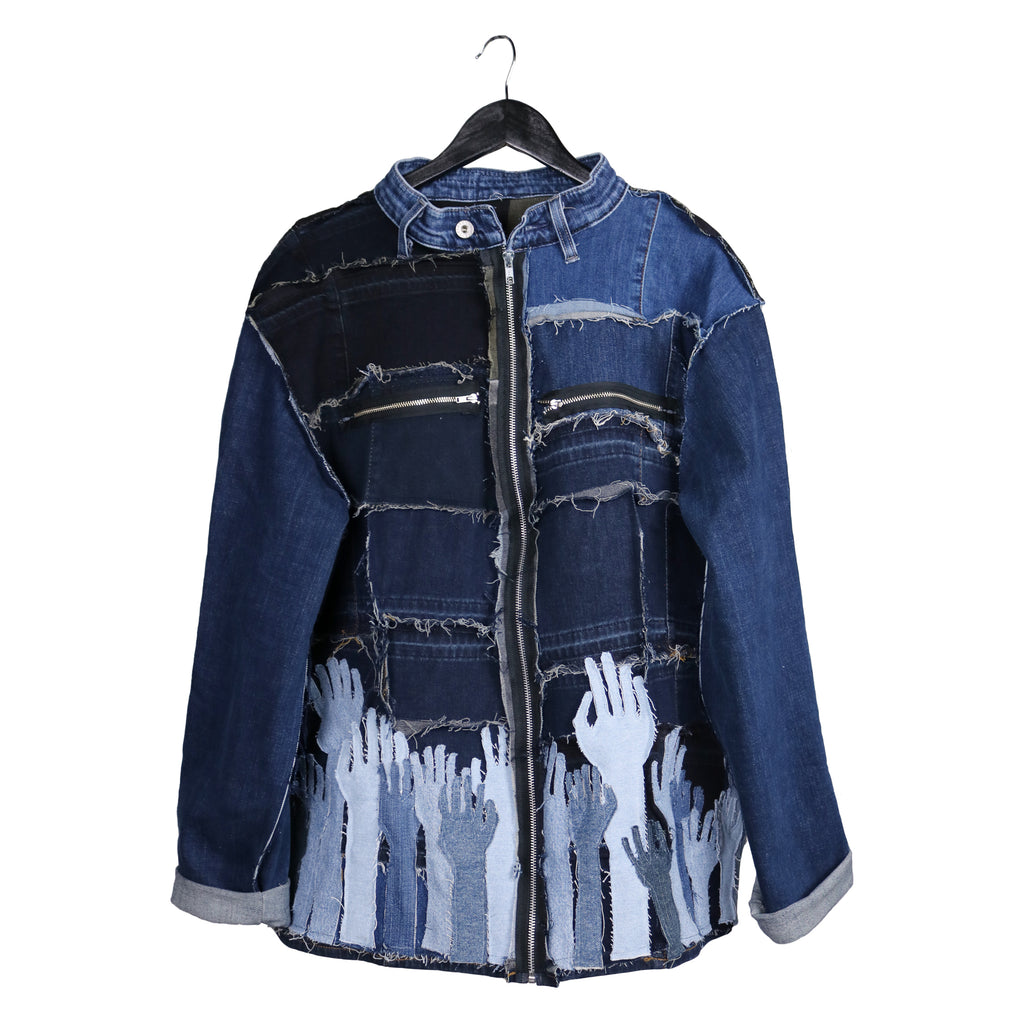 remix by stevie leigh upcycled denim jacket with hands