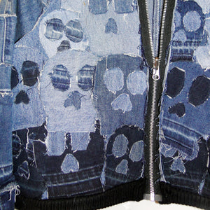 skull denim patchwork jacket detail
