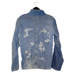 sustainable upcycled distressed denim jacket