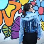 #REMIXbyStevieLeigh genderfree upcycled denim jacket with fringe