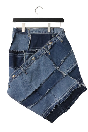 Genderless, upcycled denim skirt