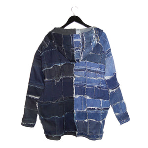 upcycled denim jacket with hood
