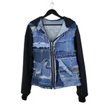 #REMIXbyStevieLeigh  upcycled denim hoodie jacket