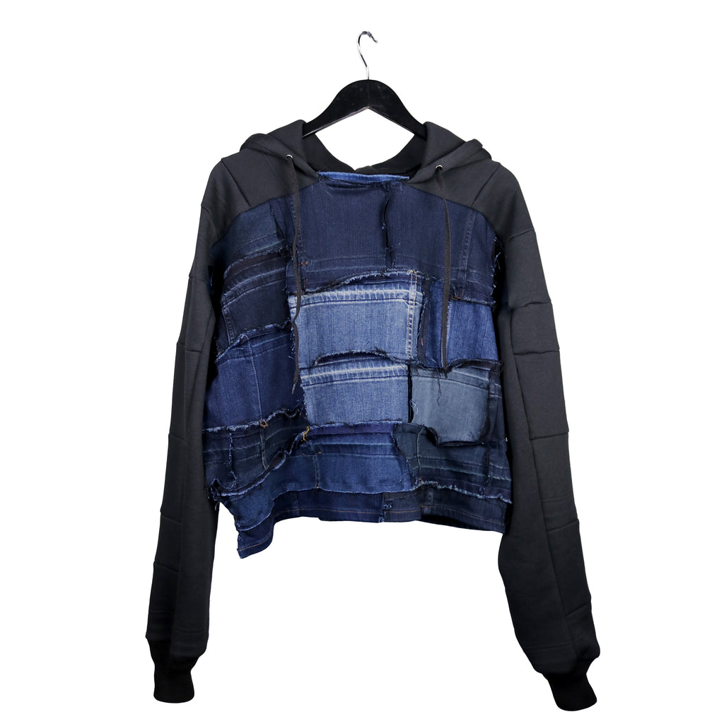 #REMIXbyStevieLeigh reversible upcycled denim jacket hoodie