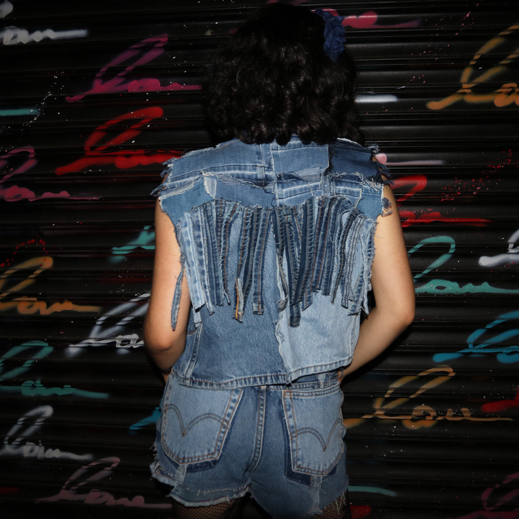 Lunacy Fringe- Upcycled denim vest