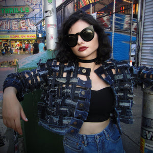 Weave Me (Into Yr Sin) - Upcycled denim Crop jacket